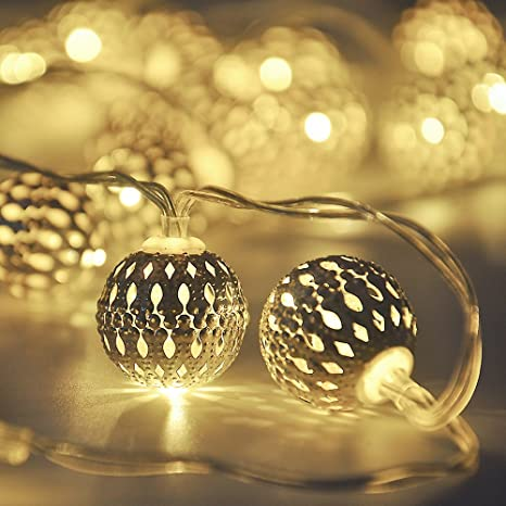 Globe String Lights,CMYK 13 ft 40 LED LED Fairy String Lights Battery Operated for Indoor,Party,Patio,Wedding,Bedroom,Christmas Tree,Warm White Specialty Lighting at amazon
