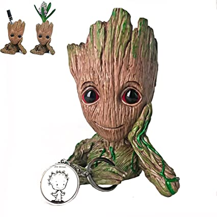 Yiomar Baby Groot Flowerpot With Keychain The Guardians Of Galaxy Flower Pot Cute Baby Action Figures Model Toy Pen Pencil Holder Pvc Plant Holder