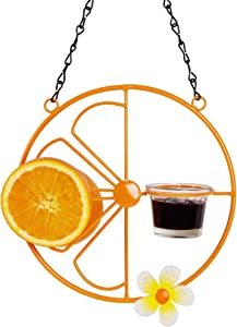 FORUP Oriole Bird Feeder for Outdoors Jelly and Oranges, Orange Fruit Oriole Jelly Bird Feeder, Outdoor Garden Metal Hanging Drinking Grape Jelly Container Hummingbird Feeder, One Pack