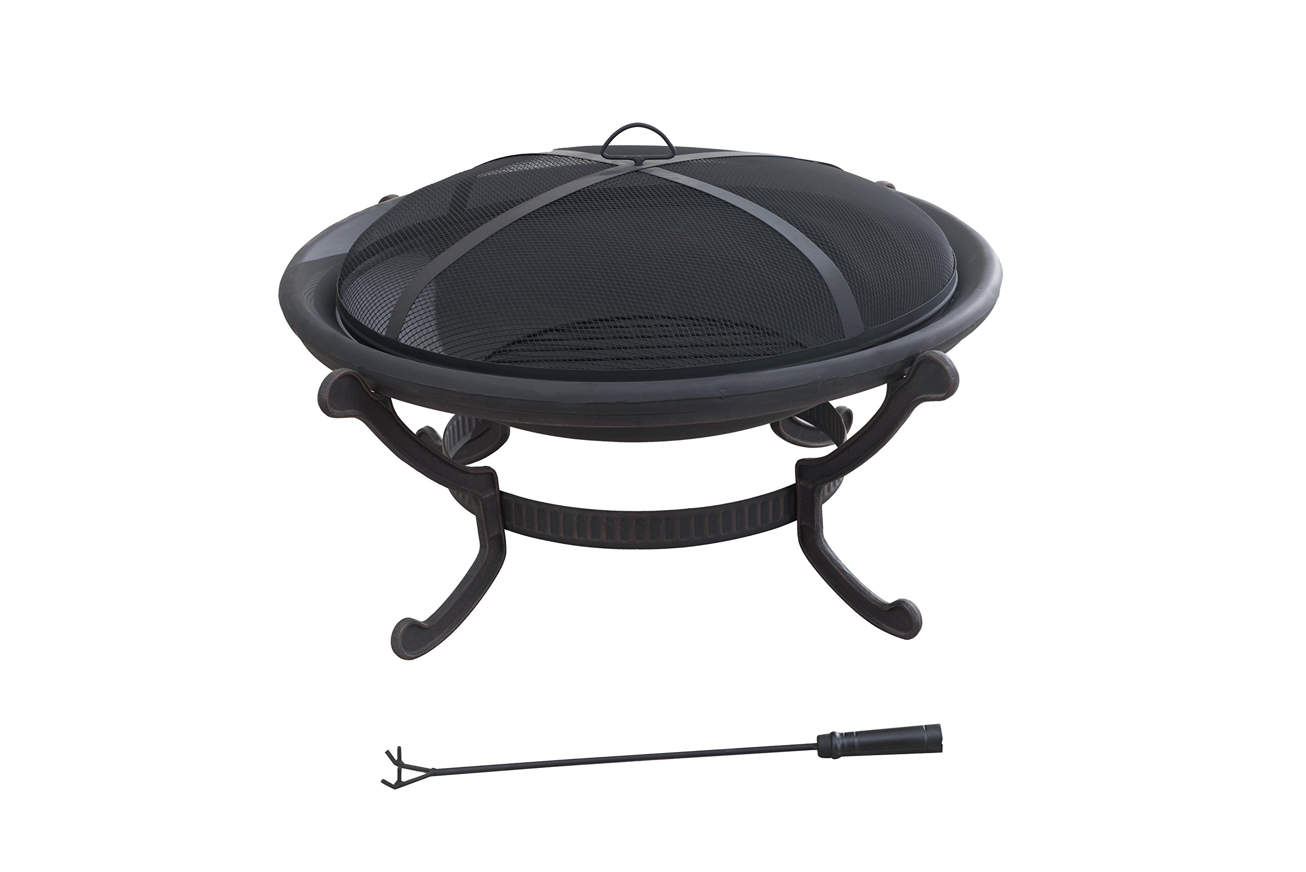 Sunjoy 35'' Nexcom Wood Burning Iron Round Fire Pit - Mesh spark guard cover for added safety to prevent embers from escaping Steel frame with powder-coated finish Contemporary design - patio, outdoor-decor, fire-pits-outdoor-fireplaces - 71 TKItveGL -