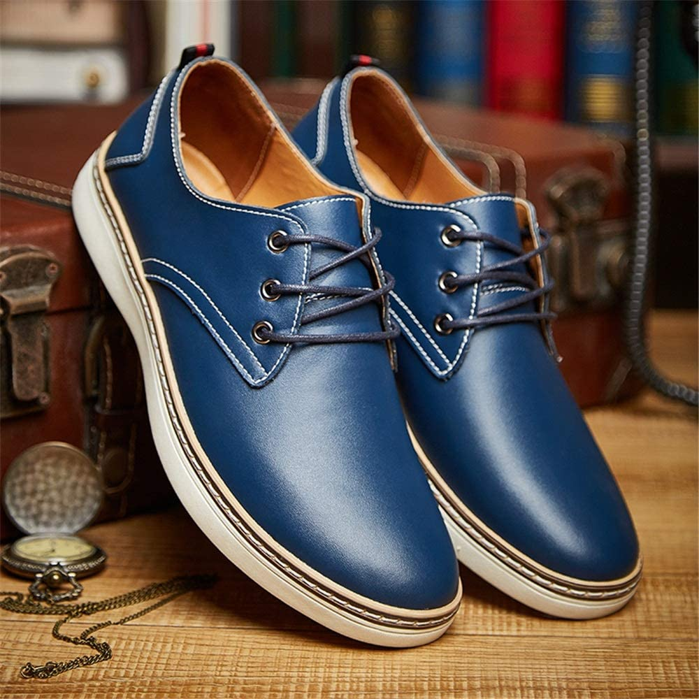 Hilotu Mens Oxfords Business Dress Shoes Simple Comfortable With Rounded Toe Low Top Lace up Leisure Big Size Sneaker