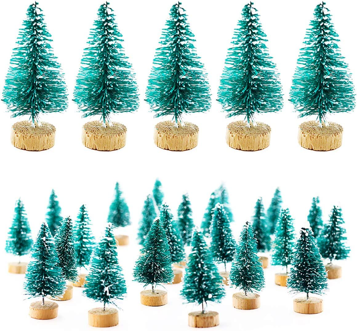 Etmact 24pcs Mini Pine Trees Frosted Sisal Trees with Wood Base Bottle Brush Trees Plastic Winter Snow Ornaments Tabletop Trees for Crafting, Displaying and Decoration (24 Pack)