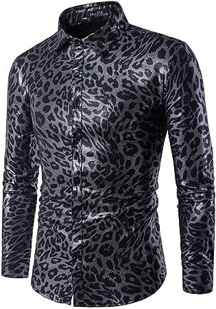 YuFLangel Camisa de Vestir con Botones para Hombre, Estilo Vintage, con Estampado de Leopardo, Cuello de Solapa, Manga Larga, Camisa de Caballero con Botones, Negro, X-Large: Amazon.es: Hogar
