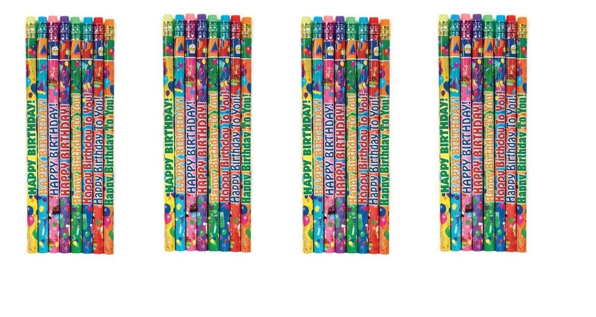 Geddes Happy Birthday Pencil Assortment, Set of 144 (66273) (4-Pack)