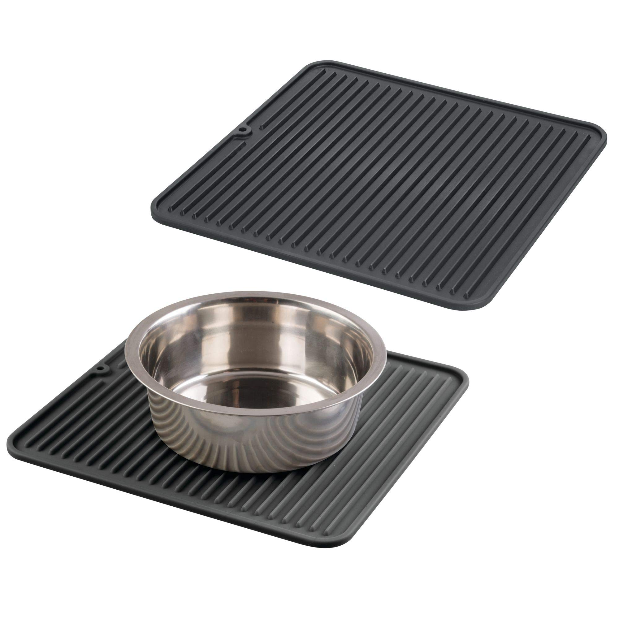mDesign Pet Food and Water Bowl Feeding Mat for Cats or Dogs - Pack of 2, Black