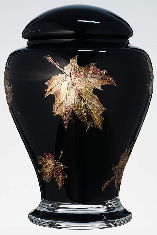 Urna conmemorativa para cenizas humanas, hecha a mano, de cristal, para cenizas de adultos, adultos jóvenes, mascotas, color negro y marrón, volumen 3 L