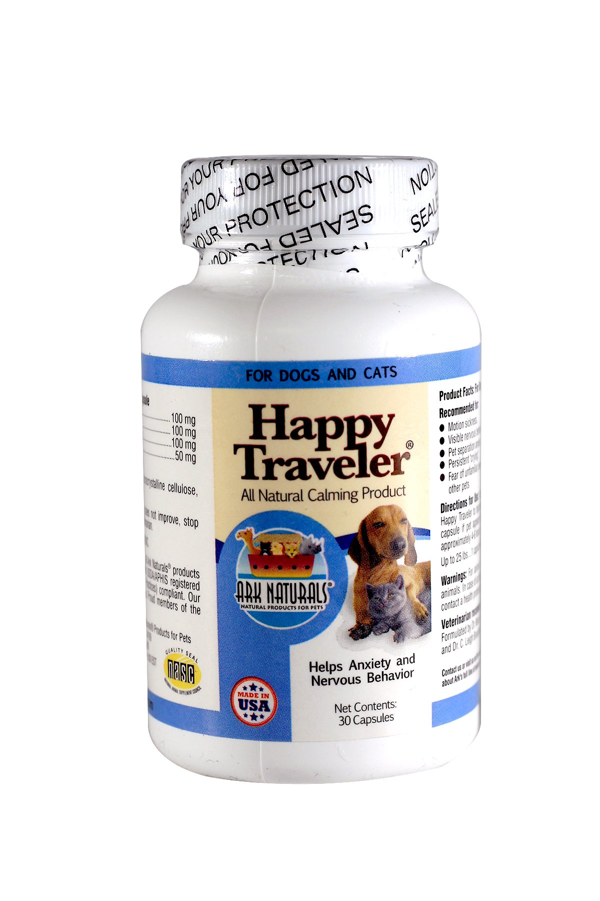 Ark Naturals Happy Traveler for Dogs & Cats 30-Count Capsules (Pack of 3)