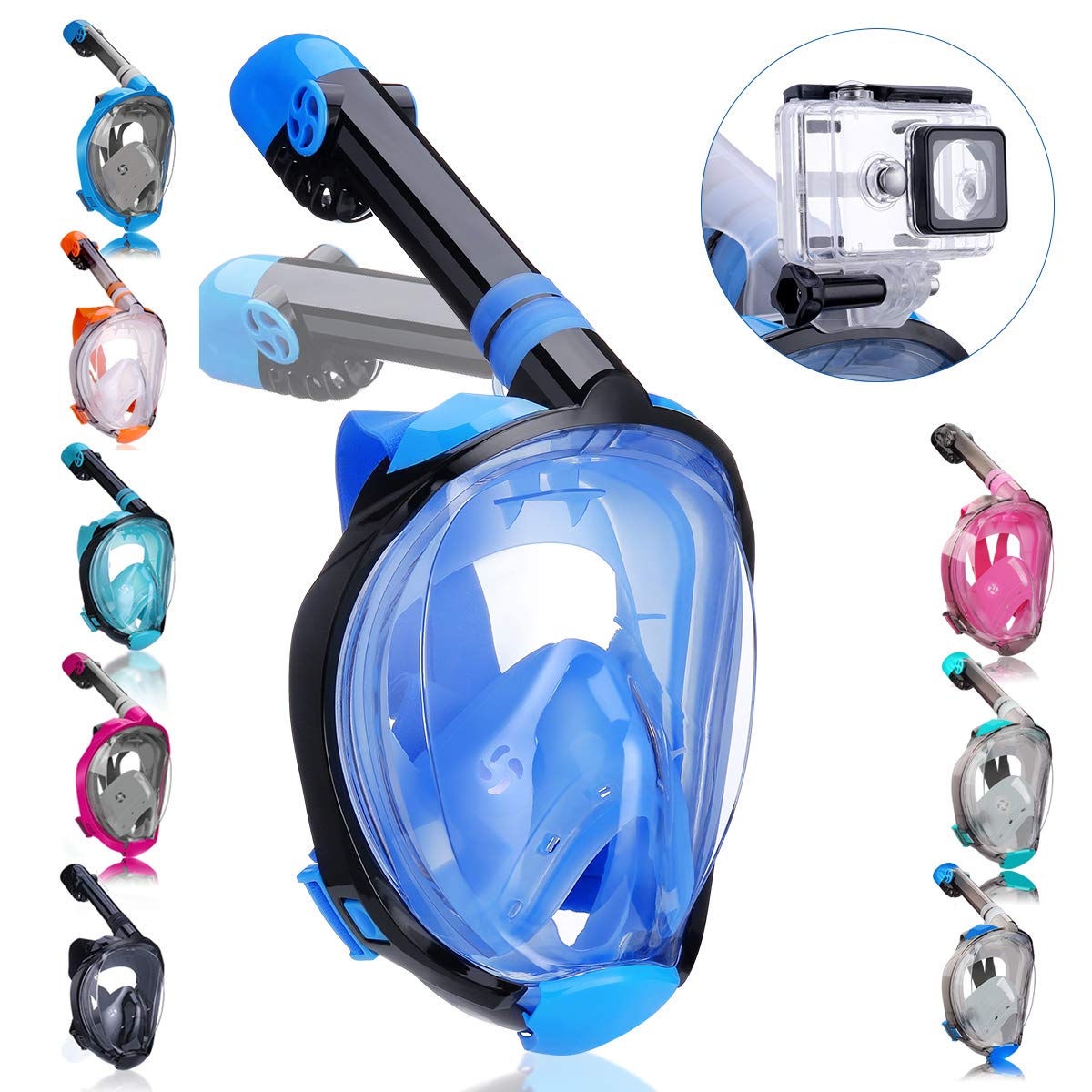 QingSong Full Face Snorkel Mask with Newest Breathing System, Give You A Natural & Safe Snorkeling Experience, Foldable 180 Degree Panoramic View Anti-Fog Anti-Leak Snorkel Set for Adults & Kids by QingSong