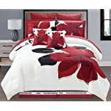 6 Pieces Burgundy Red Black White Grey floral Comforter Bed-in-a-bag Set TWIN Size Bedding + Sheets