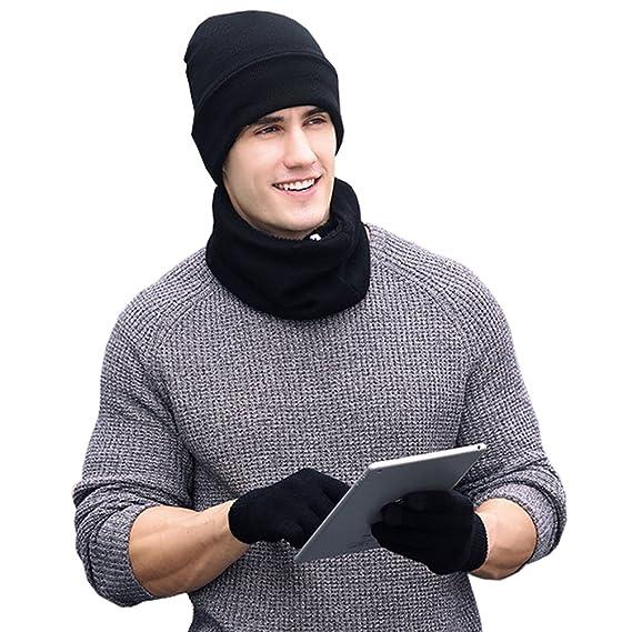 Chicone Mens Beanie Scarf Gloves Set Knit Winter Fleece Lining Hat Neck Gaiter Touch Screen Mittens