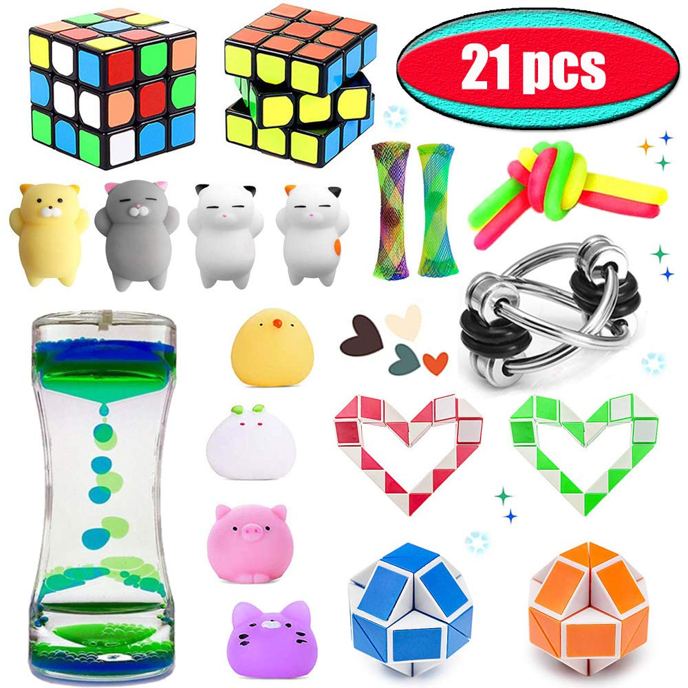 Moktod Fidget Toys Set-Sensory Tools Bundle for Stress Relief and Anti-Anxiety for Kids and Adults with ADHD ADD Autism-Sensory Fidget and Squeeze Widget for Relaxing Therapy(21 Pack)