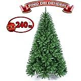 Bakaji Albero Di Natale 240 cm Pino Dei Desideri Ecologico e Ignifugo Con Base a Croce In Ferro Pieghevole 1315 Rami Innesto Ad Uncino Colore Verde