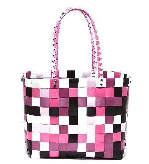 9f16006dd40a8 XXL Big Bag Shopper Tasche Korbtasche Flechtkorb Flechttasche Henkeltasche  Strandtasche geflochten knautschfähig robust abwaschbar bunt BERRY