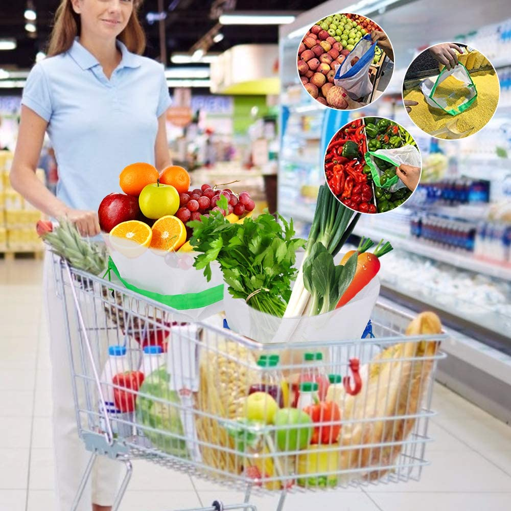 les jouets les fruits Suroy Lot de 15 sacs en maille r/éutilisables et lavables respectueux de lenvironnement pour les courses les l/égumes