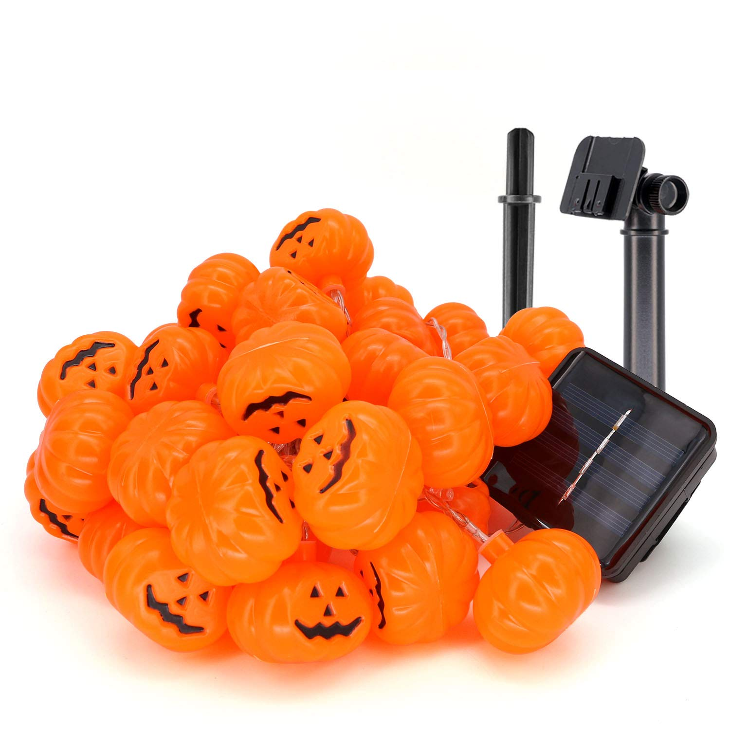 LED Halloween Solar Powered String Lights 3D Jack O Lantern Pumpkin Water Proof, No Battery Needed, Indoor Outdoor Use 17 Feet 40 Pumpkins for Party Trick or Treat Haunted House Decoration - Orange