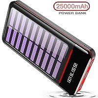 RLERON Powerbank Solar Tragbares Ladegerät 25000mAh Solarladegeräte mit Dual Eingangsports und 3 USB Ausgängen,Digitalanzeige hohe Kapazitäts Externer Akku für Das Tablette,Android/IOS Phone…