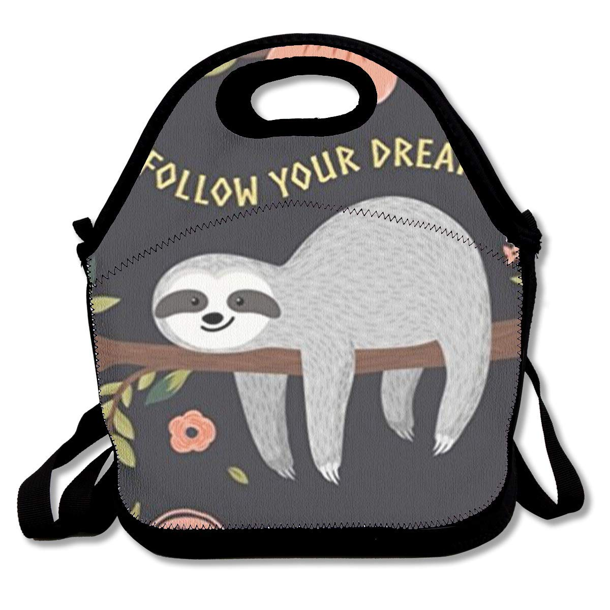 Follow Your Dreams Sloth My Spirit Animal Insulated Neoprene Lunch Bag Kids /& Adults Zipper Lunch Tote Handbag with Adjustable Strap Lunchbox for School Office