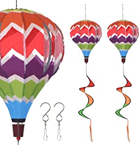 FENELY Giant Rainbow Hot Air Balloon Garden Pinwheels Whirligigs Wind Spinner Windmill Toys for Kids Yard Decor Lawn Decorations Outdoor Whirlygig Windmills 59