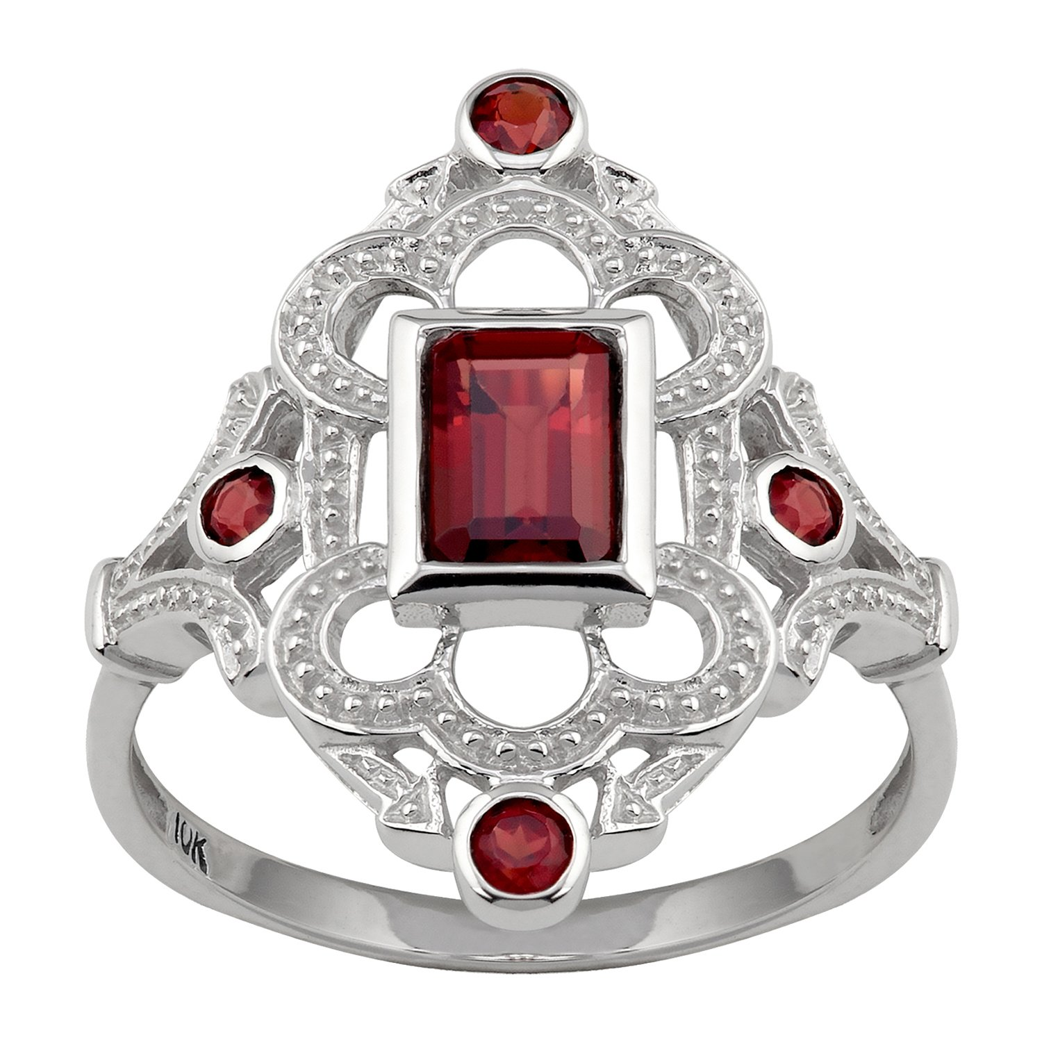 10k White Gold Vintage Style Genuine Garnet Ring by Instagems