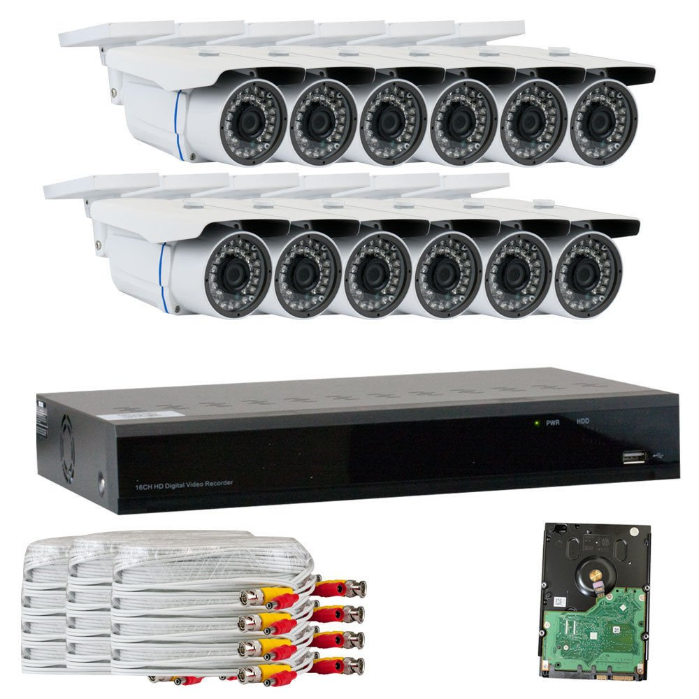 GW Security VD16CH12C50HDSDI 16 CH HD SDI DVR 1080P Security Camera System with 12 x 2.1 MP 1080P Varifocal Zoom, Outdoor Cameras and 3 TB Hard Drive Grey