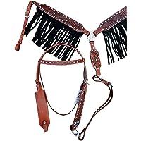 En cuir noir western Poco Bride avec ARGENT EMBOUTS et SPLIT Reins cheval taille