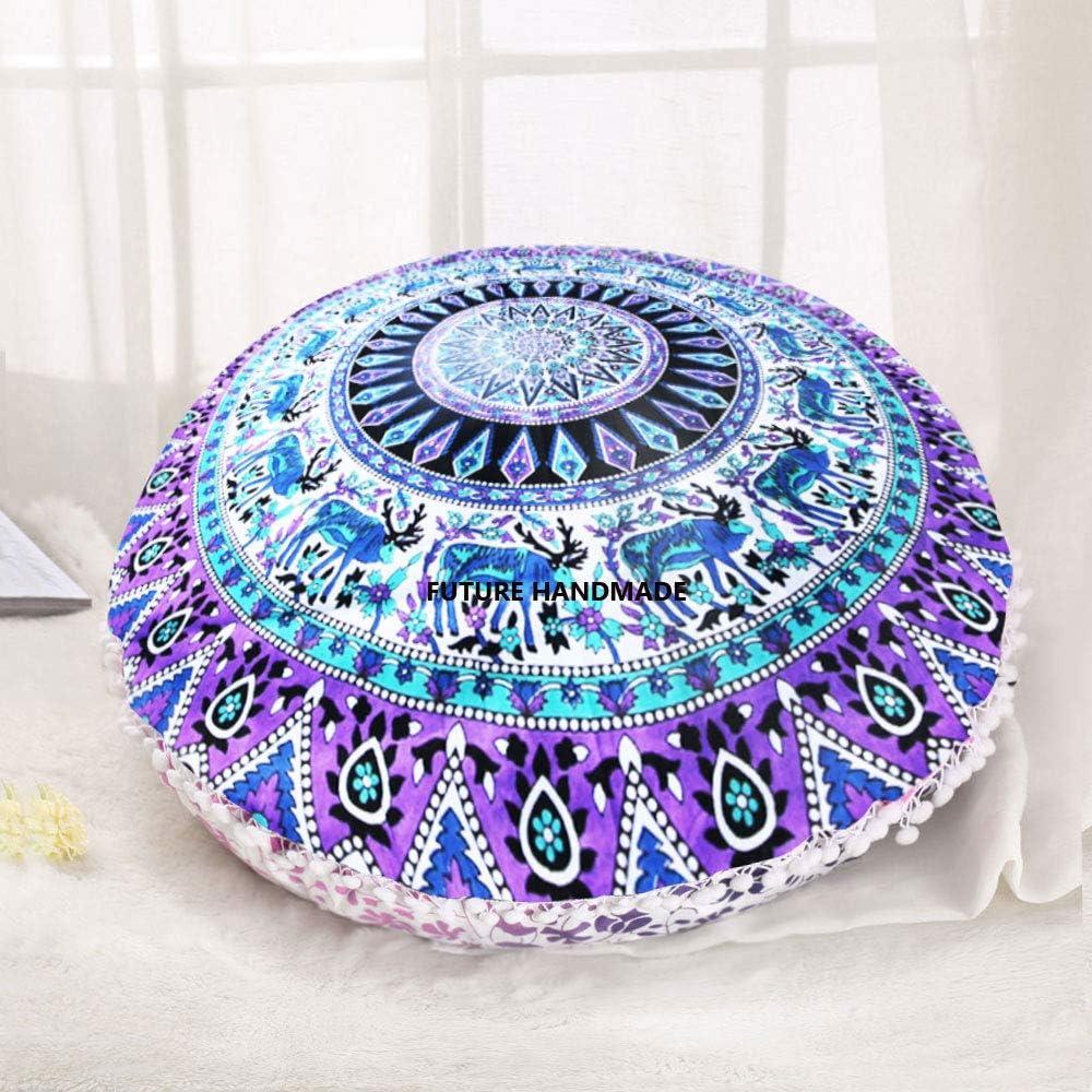 coussin indien mandala 81,3/cm Deco int/érieur boh/ème 100 /% coton multicolore Future Handmade Housse pour pouf rond Design 1