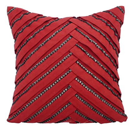 Amazon Red Cushion Covers 40x40 Inch Throw Pillows Cover Faux Gorgeous Rhinestone Decorative Pillows
