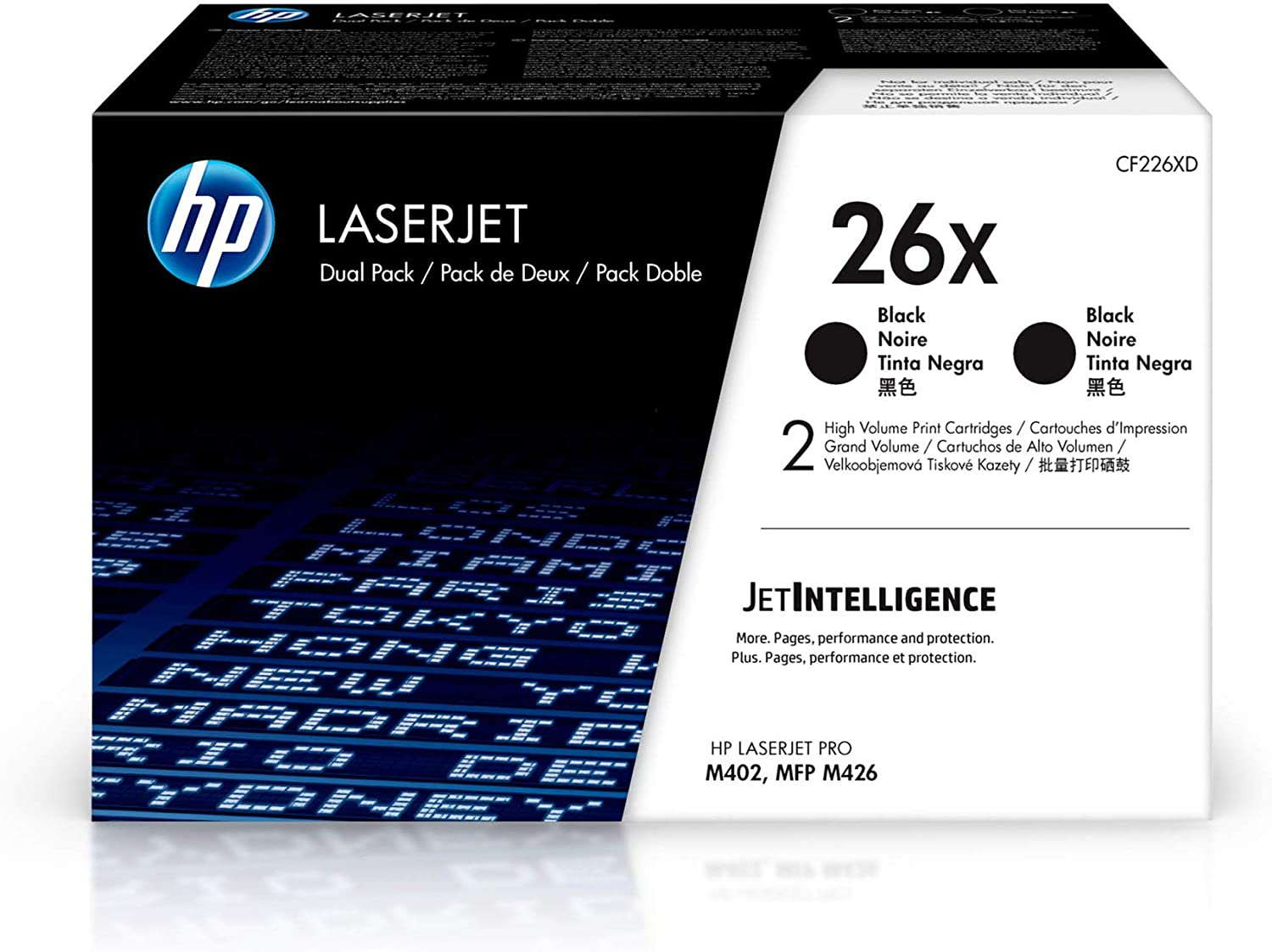 HP 26X | CF226XD | 2 Toner Cartridges | Black | High Yield, Pack of 2