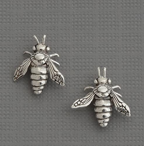 fdbe6a5bf Image Unavailable. Image not available for. Color: Sterling silver little  small bee studs honey bumble bee post earrings insect jewelry