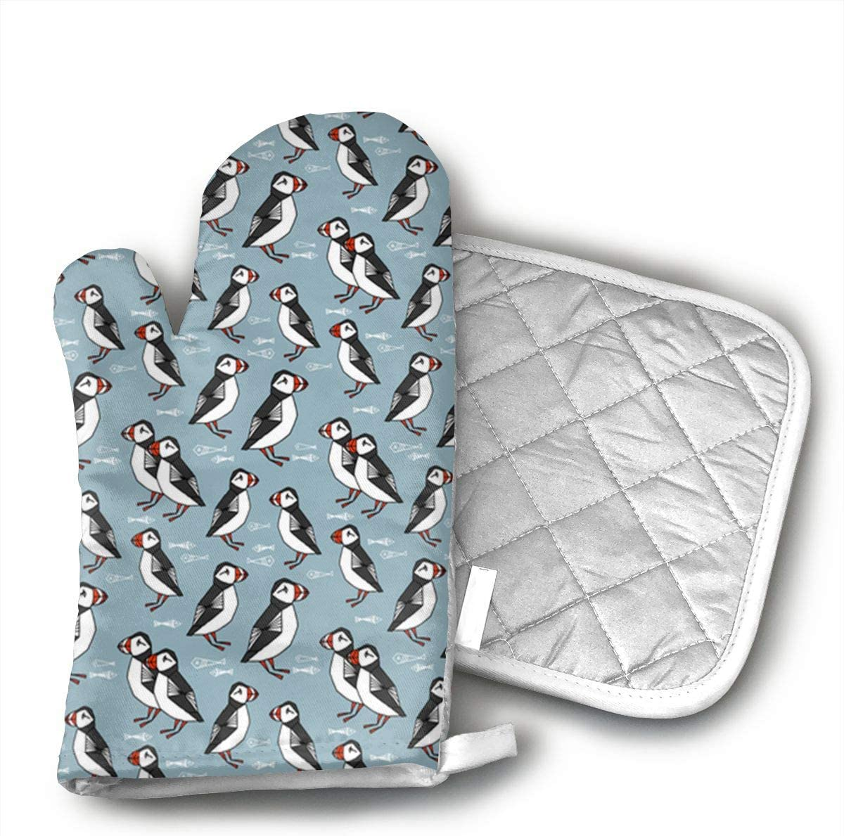 HEPKL Oven Mitts and Potholders Puffin Birds Blue Non-Slip Grip Heat Resistant Oven Gloves BBQ Cooking Baking Grilling