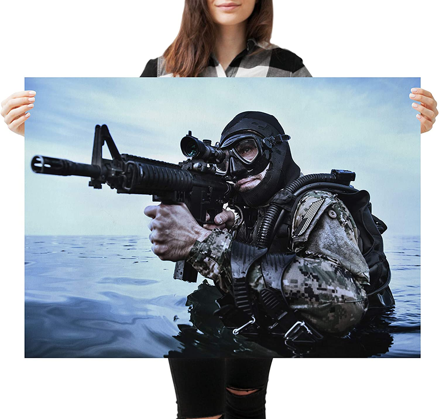 A1 Awesome Navy Seal Frogman Poster Size 60 x 90cm Military Poster Gift #16571