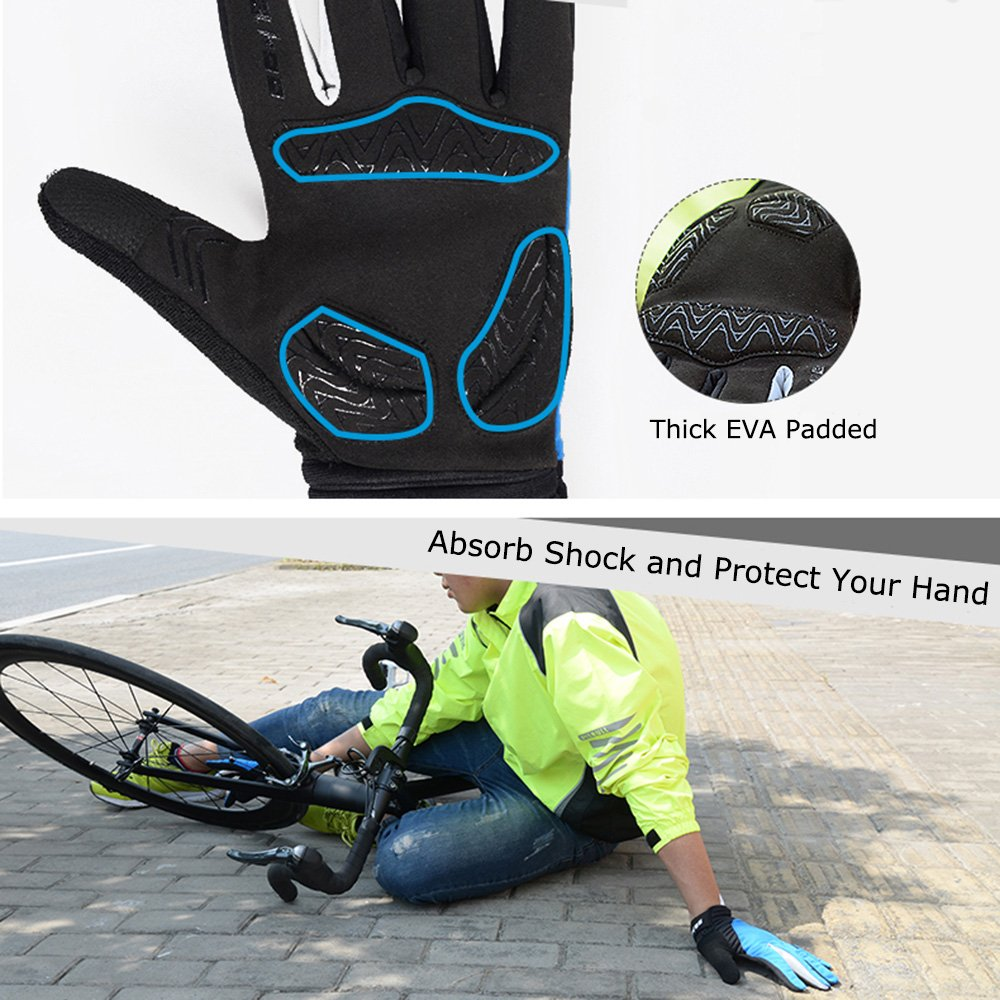 Windproof Smart Phone Touch Screen EVA Pad Shock Proof Silicone Non Slip Gloves Full Finger for Men Women Bike Riding Motorcycle Driving Outdoor Work WOTOW Winter Cycling Gloves