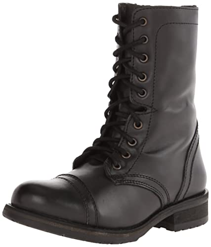 Steve Madden Women's Troopa 2.0 Combat Boot, Black Leather, ...