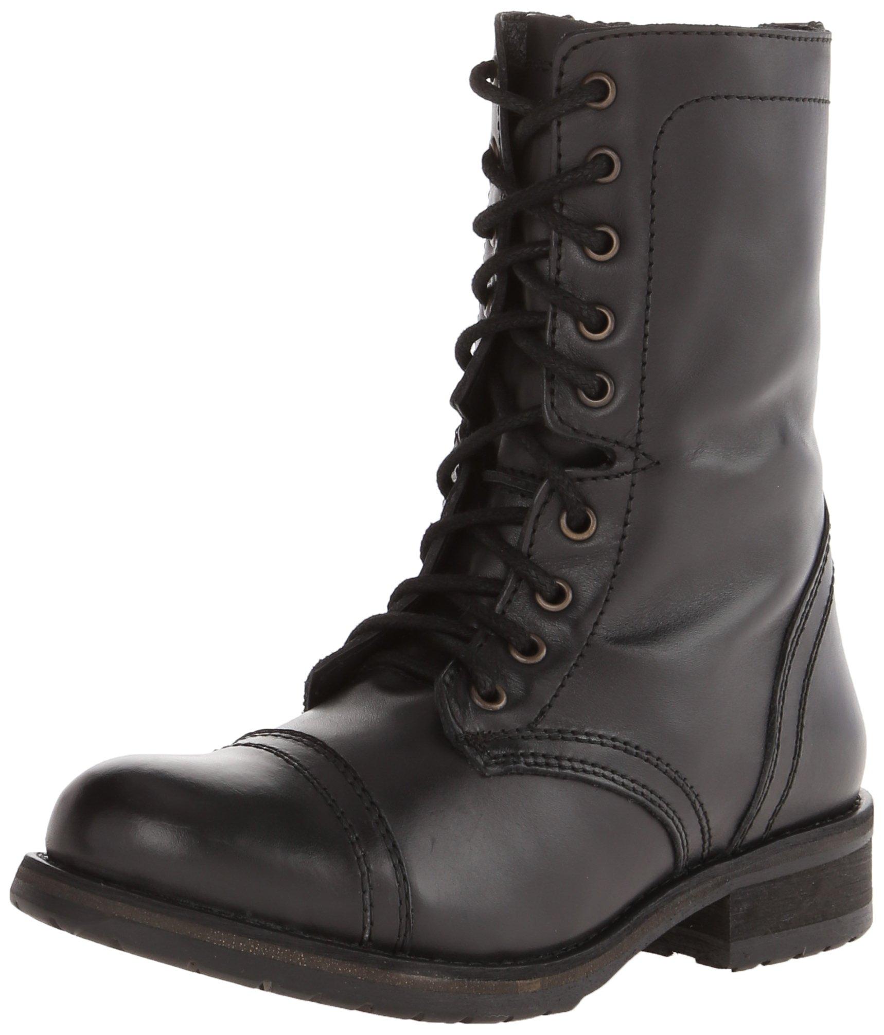 Steve Madden Women's Troopa 2.0 Combat Boot, Black Leather, 8 M US