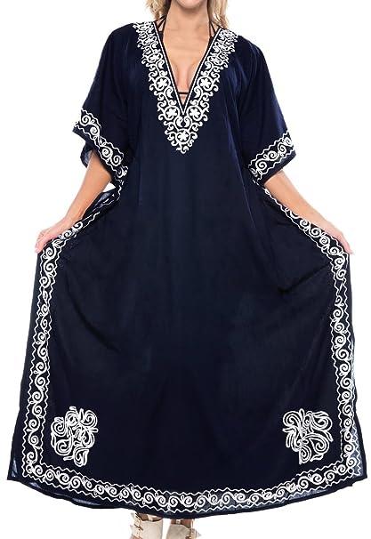 LA LEELA Mujeres caftán Rayón túnica 3D HD Impreso Kimono Libre tamaño Largo Abaya Vestido Jalabiyas de Fiesta para Loungewear Ropa de Dormir Playa Todos ...