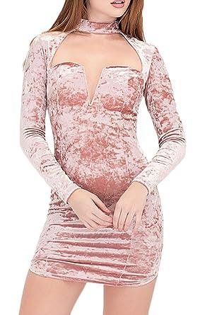 Ballkleid Damen V Ausschnitt Langarm Eng Vintage Elegant Pastell Samt Kurz  Cocktailkleid Kleider: Amazon.de: Bekleidung