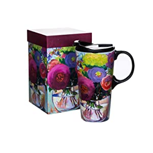 Ceramic Coffee Cup Travel Car Mug 17 OZ. with Gift Box and Lid