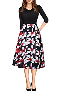 befa181ac Women Vintage Casual Swing 3/4 Sleeve Patchwork Floral Midi Dress with  Pockets for Work