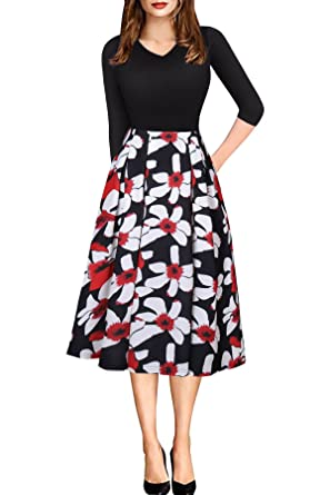 66533e410a45 Vintage Work Dress for Women 3/4 Sleeve Floral Midi Wedding Guest Dress  with Pocket