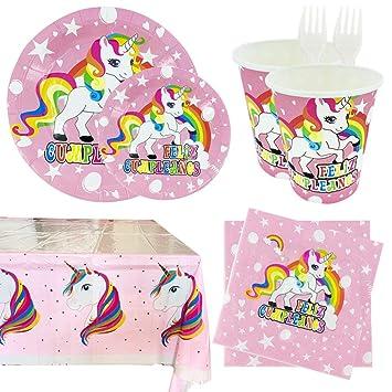 Kit de Vajilla Desechable Completa,para Fiesta Cumpleaños Infantil Unicornio,para Niña - 99 Piezas Incluye Platos,Vasos,Mantel,Servilletas y ...
