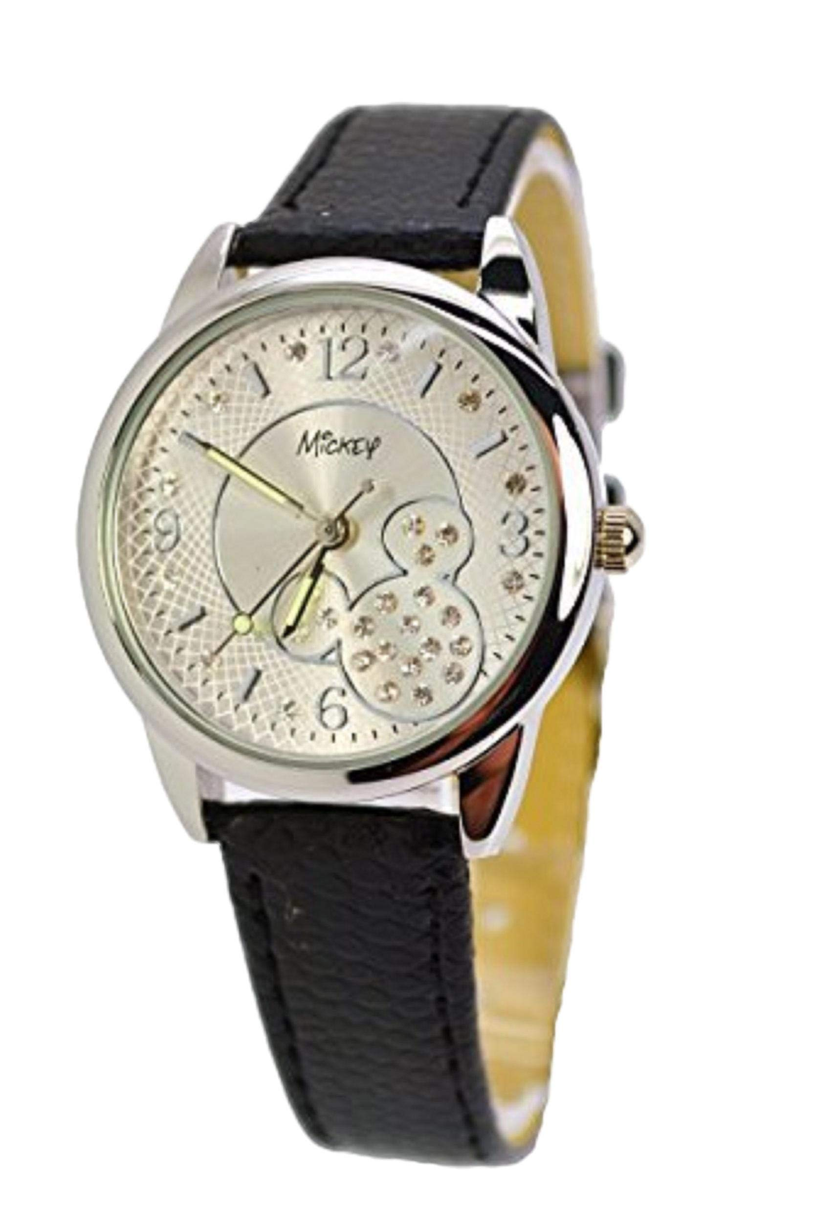Disney Modern Watch for Girls w/Australian Crystals Mickey Mouse.Analog Large Display. (1)