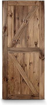 Belleze Puerta corredera de acero de madera de granero de estilo ...