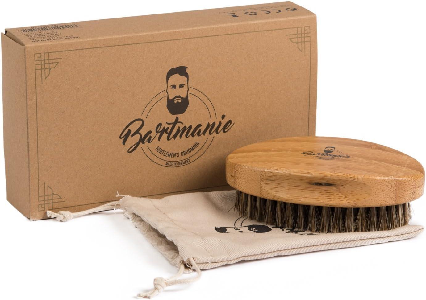 cepillo de barba BARTMANIE hecha de madera fina y los caballos cerdas de pelo real para el cuidado perfecto de la barba, cepillo de barba de pelo de caballo en caja de regalo noble