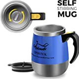 [Upgrade]Self Stirring Coffee Mug - Upintek Magnetic Self Stirring Cup, Electric Stainless Steel Automatic Self Mixing Cup and Mug for Traveling Morning Coffee Cup 450ml/15.2oz(Black)