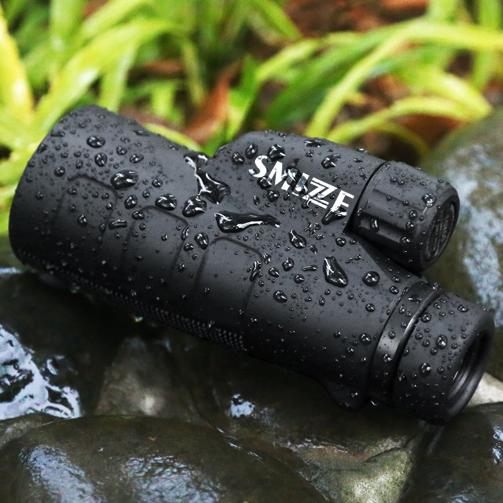 SMIZZE Monocular 12x50 - High Power Scope Fully Multi Coated Optical Glass Lens and Bak-4 Green Film Prism - One Hand Focus - Waterproof Compact Telescope for Bird Watching Hunting Traveling