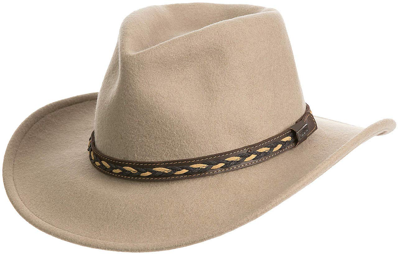 Overland Sheepskin Co Jasper Crushable Wool Waterproof Outback Hat