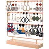 QILICHZ Earring Stand Earring Holder Earring Display Stand Ear Stud Holder Jewelry Tree Stand Jewelry Tower Rack Organizer with Wooden Tray for Earrings Necklace Bracelet Rings Rose Gold