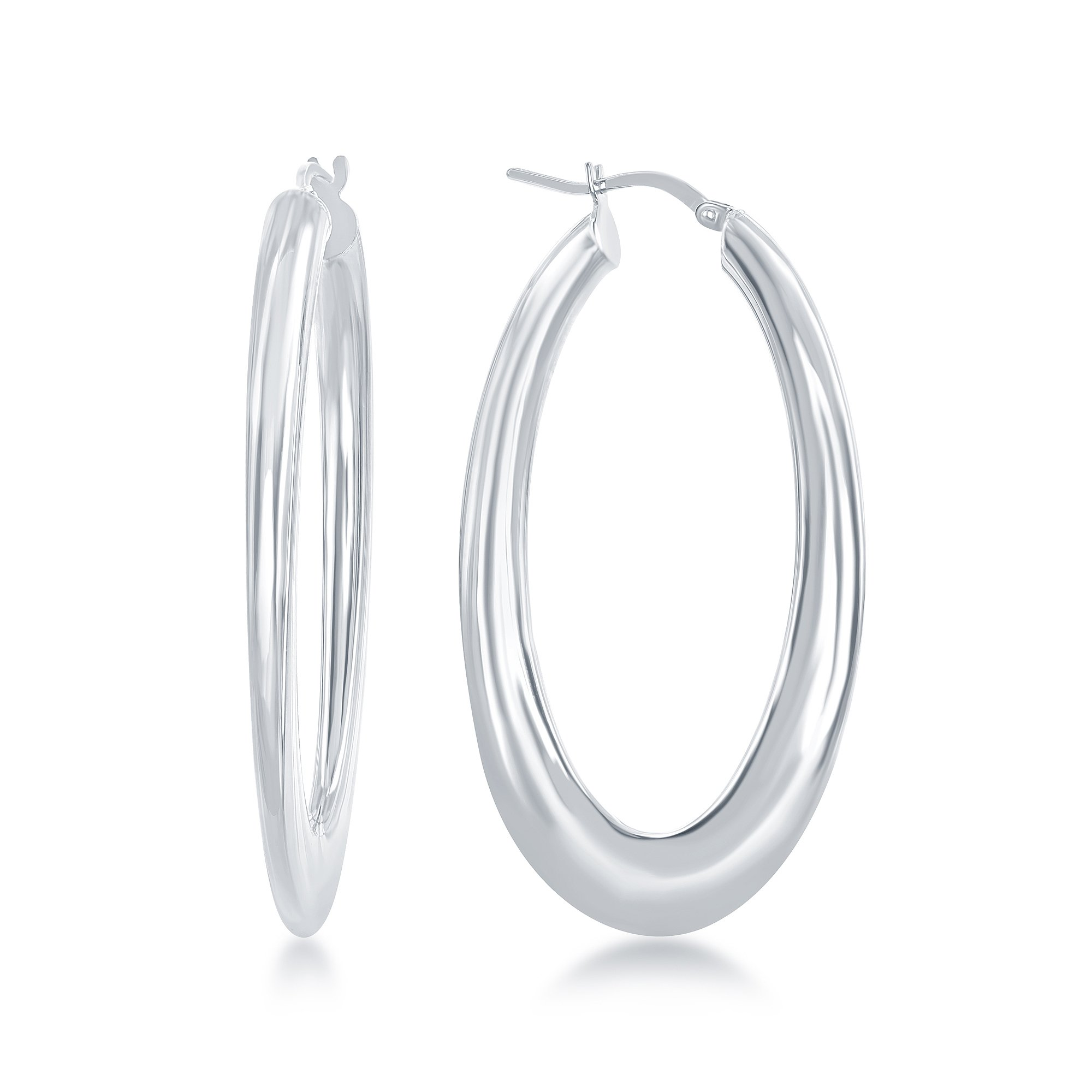 Sterling Silver Italian High Polish Oval Hoop Earrings