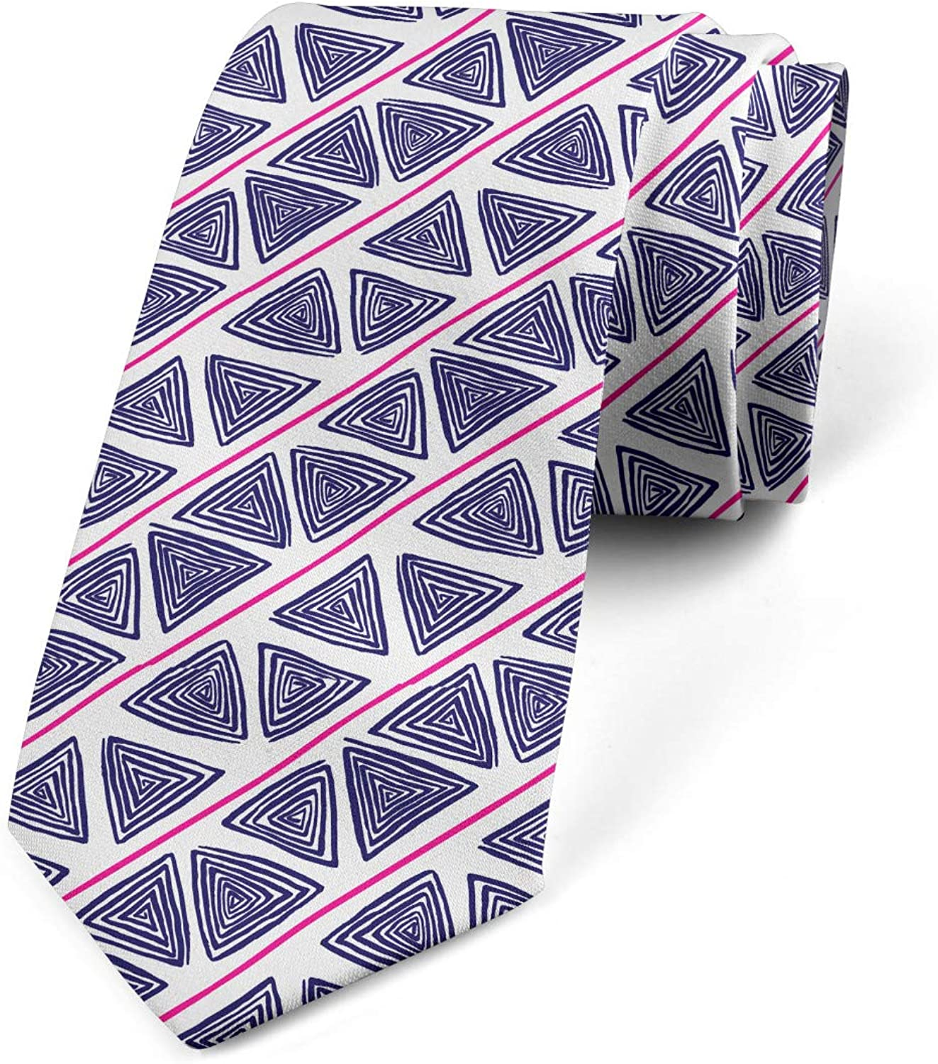 Indigo Hot Pink White Spirals Shapes with Lines 3.7 Lunarable Mens Tie