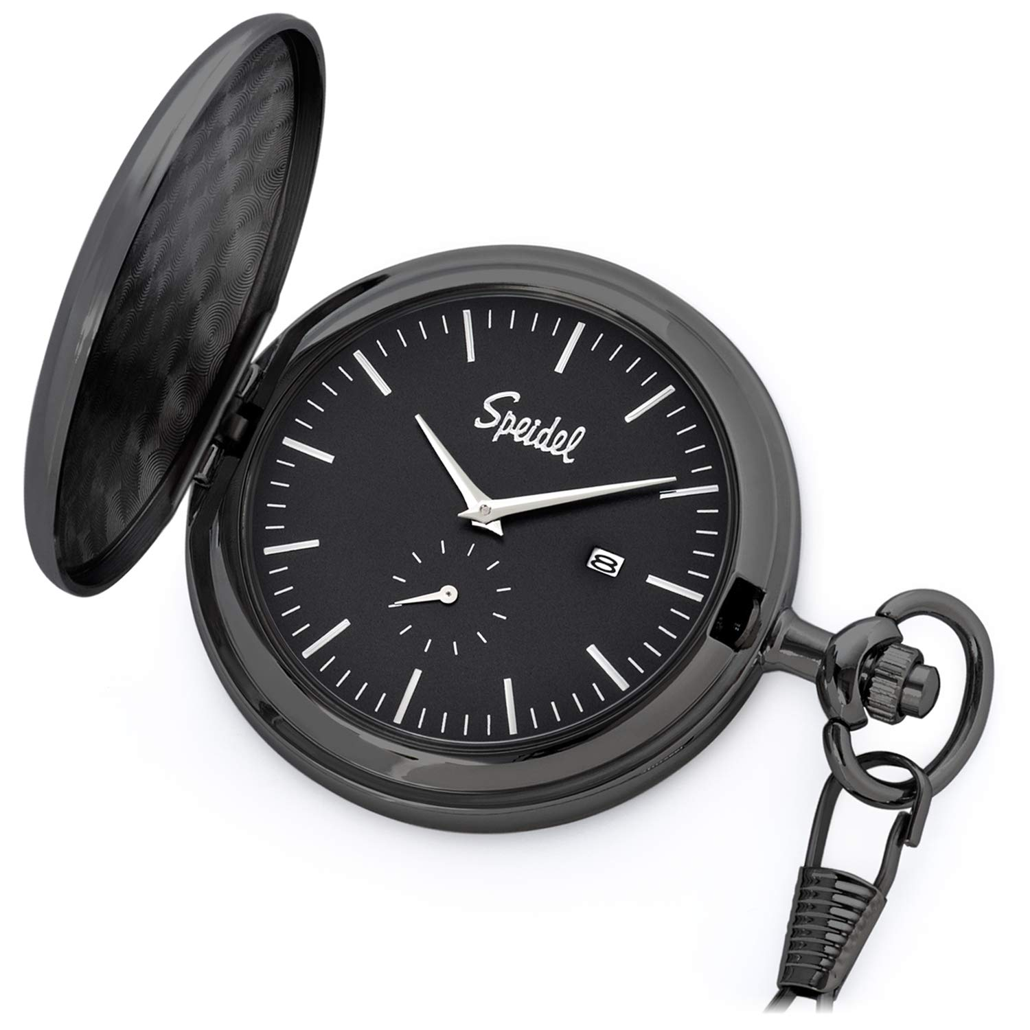 Speidel Classic Brushed Satin Black Engravable Pocket Watch with 14'' Chain, Black Dial, Date Window, and Seconds Sub-Dial by Speidel